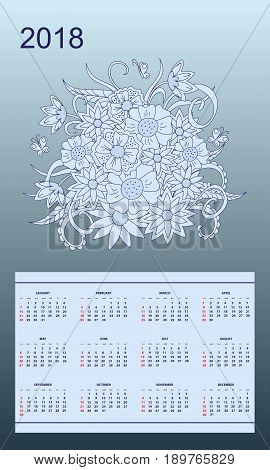 Business english calendar for wall on year 2018 on the gradient background with hand drawn floral bouquet. Week starts on Sunday. eps 10