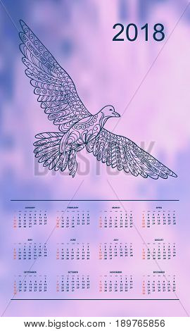 Business english calendar for wall on year 2018 on the gradient background with hand drawn patterned seagull. Week starts on Sunday. eps 10
