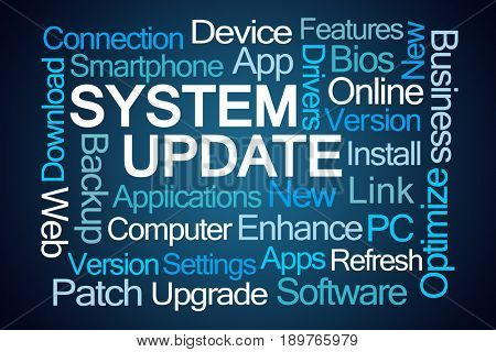 System Update Word Cloud on Blue Background