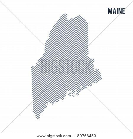 Vector Abstract Hatched Map Of State Of Maine Isolated On A White Background.