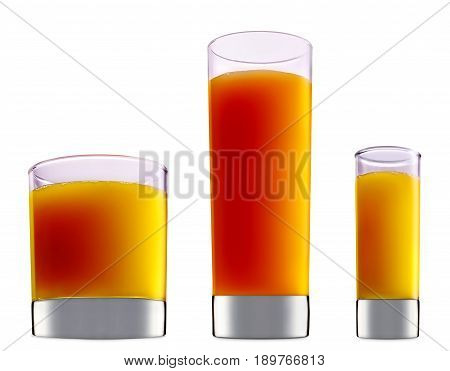 resh fruit alcohol cocktail or mocktail mimosa in classic glass with orange beverage isolated on white background