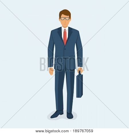 Businessman holding briefcase isolated on white background. Vector illustration flat design. Male cartoon character. Office manager in a business suit with tie. Confident man.