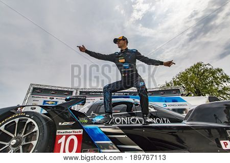 June 03, 2017 - Detroit, Michigan, USA:  Jordan Taylor (10), surfs on his Konica Minolta Chevrolet after winning the Chevrolet Sports Car Classic at Belle Isle Street Course in Detroit, Michigan.