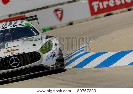 June 02, 2017 - Detroit, Michigan, USA:  The Riley Motorsports Mercedes AMG GT3 races through the turns at the Chevrolet Sports Car Classic at Belle Isle Street Course in Detroit, Michigan.