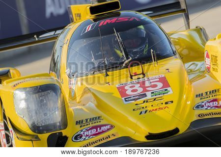 June 02, 2017 - Detroit, Michigan, USA:  The JDC Miller Motorsports ORECA car races through the turns at the Chevrolet Sports Car Classic at Belle Isle Street Course in Detroit, Michigan.