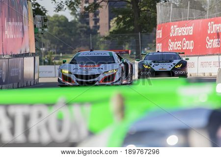 June 02, 2017 - Detroit, Michigan, USA:  The Michael Shank Racing Acura NSX GT3 races through the turns at the Chevrolet Sports Car Classic at Belle Isle Street Course in Detroit,Michigan.