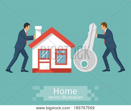 Buying house. People businessman bring house and a key. Vector illustration flat design. Real estate agent handing over home keys. Template for sale, rent home. Isolated on white background.