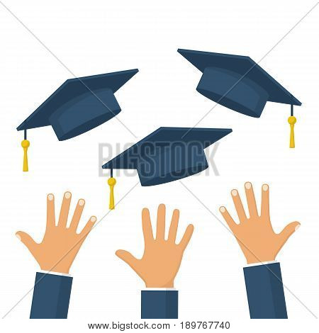 Graduates throwing graduation hats in the air. Concept of education. Graduating students. Flying academic hats. Ceremony of finish off educational institution. Flat cartoon design. Vector illustration