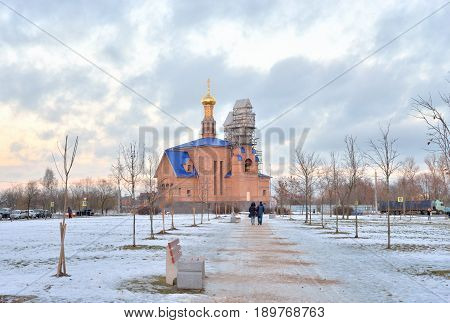 Church in microdistrict Ribatskoe at winter on the outskirts of St. Petersburg Russia.