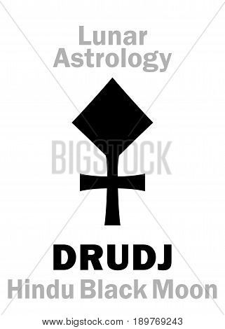 Astrology Alphabet: DRUDJ (Black Moon), moon orbit point in Hindu astrology. Hieroglyphics character sign (single symbol).