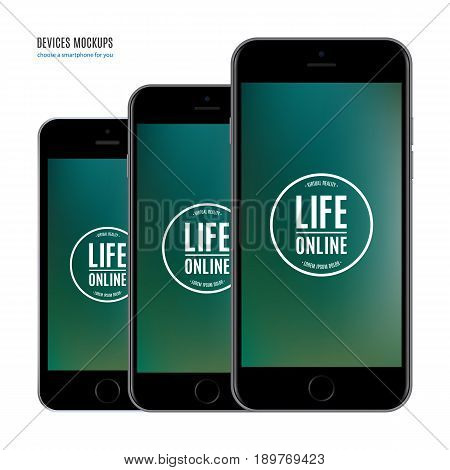 smartphone mockup set with colored screen isolated on white background. stock vector illustration eps10