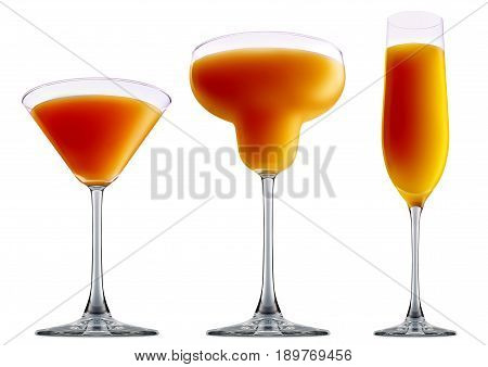 resh fruit alcohol cocktail or mocktail mimosa in classic margaritta, martini, champagne glass with orange beverage isolated on white background