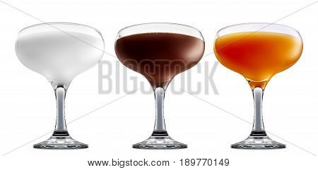 Pina colada, white russian, Irish Cream chocolate Liqueuron, mimosa fresh fruit alcohol cocktail or mocktail in margarita glass with blue white and orange beverage isolated on white background