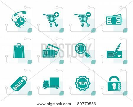 Stylized Internet icons for online shop - vector icon set