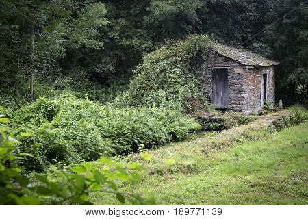 ancient stone made house and a water stream in the woods