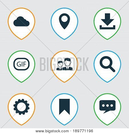 Social Icons Set. Collection Of Partnership, Down Arrow, Overcast And Other Elements. Also Includes Symbols Such As Message, Down, Arrow.