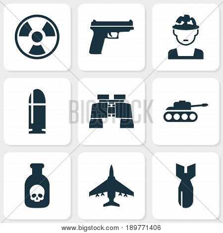 Battle Icons Set. Collection Of Military, Dangerous, Rocket And Other Elements. Also Includes Symbols Such As Military, Fire, Mechanism.