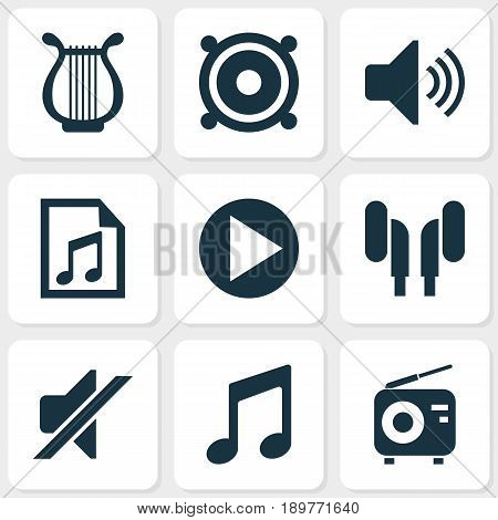 Multimedia Icons Set. Collection Of Music, File, Start And Other Elements. Also Includes Symbols Such As Music, Instrument, Lyre.