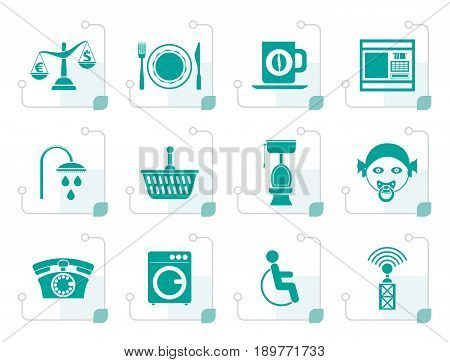 Stylized Roadside, hotel and motel services icons  - vector icon set