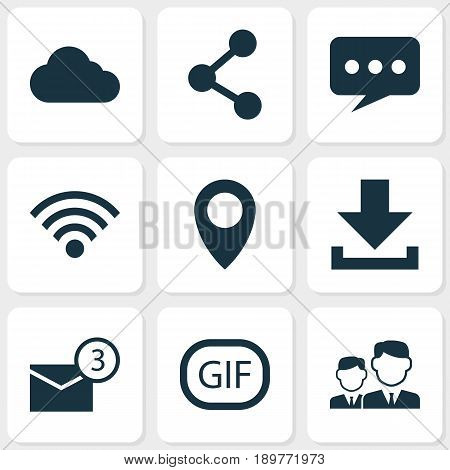 Media Icons Set. Collection Of Message, Pin, Publish And Other Elements. Also Includes Symbols Such As Publish, Download, Friend.