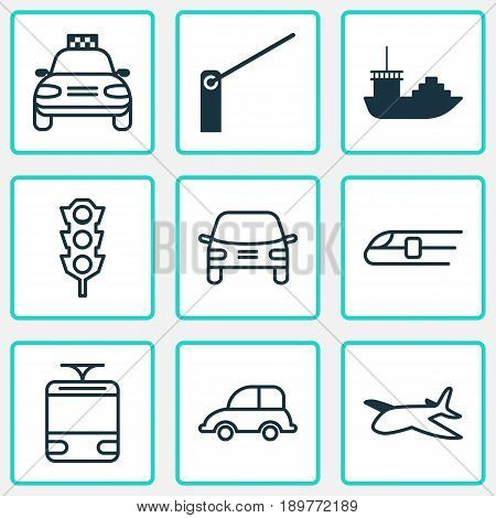 Transport Icons Set. Collection Of Metro, Automobile, Tanker And Other Elements. Also Includes Symbols Such As Streetcar, Barricade, Railway.