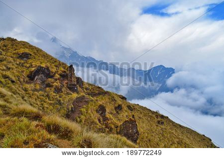 Colorful Mountain Landscape with track in Himalaya. Cloudy day. Annapurna region, Nepal, Mardi Himal track.