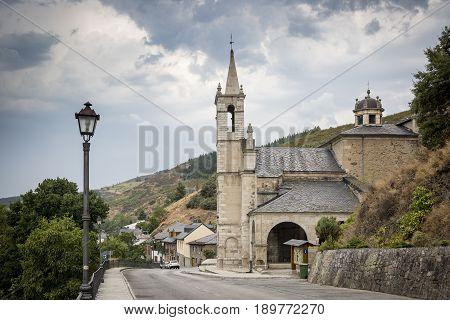 Santuario de la Virgen de las Angustias church in Molinaseca town, Province of Leon, Spain