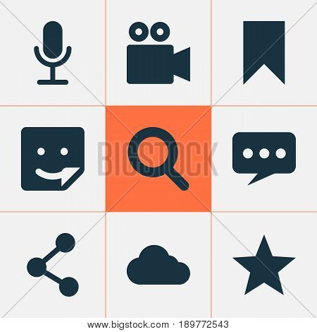 Social Icons Set. Collection Of Overcast, Video Chat, Camcorder And Other Elements. Also Includes Symbols Such As Video, Publish, Network.