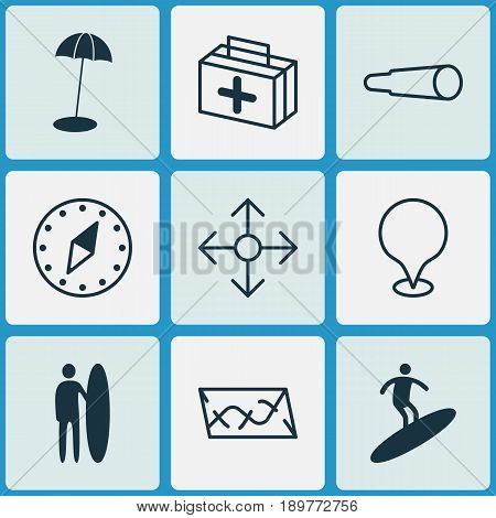 Travel Icons Set. Collection Of Magnifying Glasses, Map Pointer, First Aid Bag And Other Elements. Also Includes Symbols Such As Direction, Aid, Surf-Board.