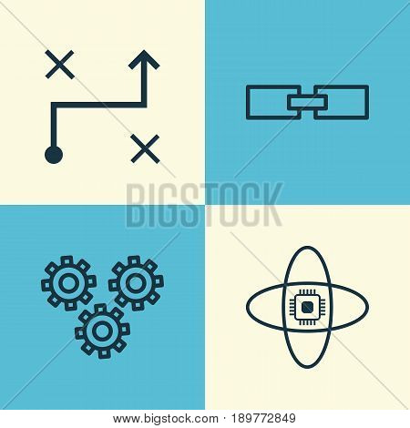 Robotics Icons Set. Collection Of Atomic Cpu, Related Information, Solution And Other Elements. Also Includes Symbols Such As Computer, Arrow, Algorithm.