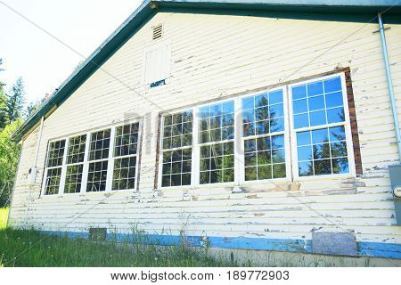 CRESTON, MONTANA, USA - May 3, 2017: New windows installed on an old schoolhouse undergoing renovations