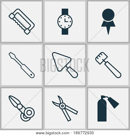 Apparatus Icons Set. Collection Of Pliers, Putty, Clippers And Other Elements. Also Includes Symbols Such As Pincers, Clippers, Scissors.