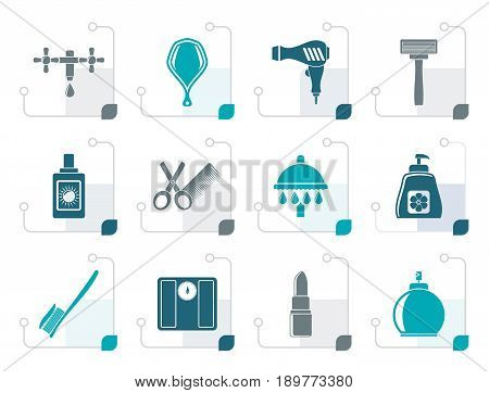 Stylized Personal care and cosmetics  icons - vector icon set