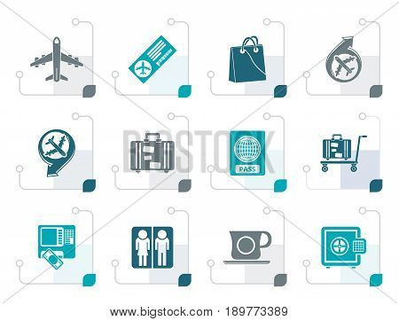 Stylized airport, travel and transportation icons 1 - vector icon set