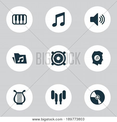 Multimedia Icons Set. Collection Of Octave, Dossier, Music And Other Elements. Also Includes Symbols Such As Sound, Vinyl, Loudspeaker.