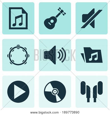 Music Icons Set. Collection Of Instrument, Earmuff, Start And Other Elements. Also Includes Symbols Such As Mute, File, Playlist.