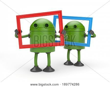 Two green robots with picture frame. 3d illustration