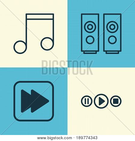 Music Icons Set. Collection Of Following Song, Note, Sound Box And Other Elements. Also Includes Symbols Such As Button, Box, Forward.