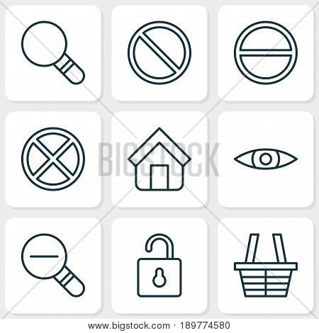 Icons Set. Collection Of Obstacle, Unlock, Refuse And Other Elements. Also Includes Symbols Such As Shelter, Tabernacle, Refuse.