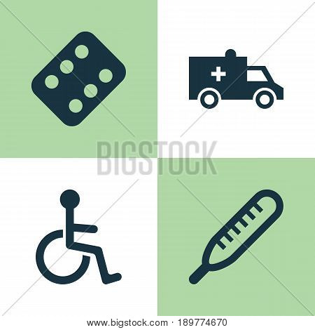 Drug Icons Set. Collection Of Disabled, Bus, Remedy And Other Elements. Also Includes Symbols Such As Cure, Thermometer, Brougham.