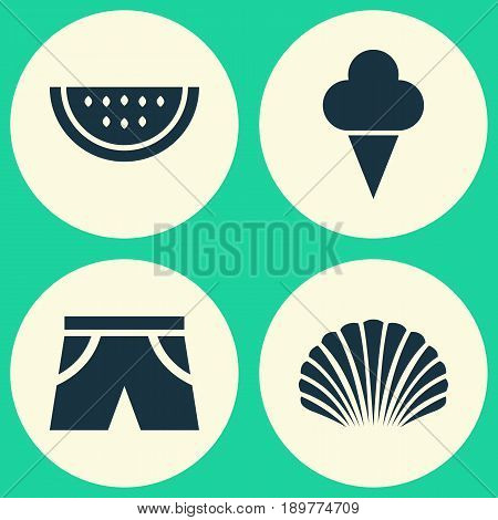Icons Set. Collection Of Conch, Smelting, Melon And Other Elements. Also Includes Symbols Such As Cream, Citrus, Shell.