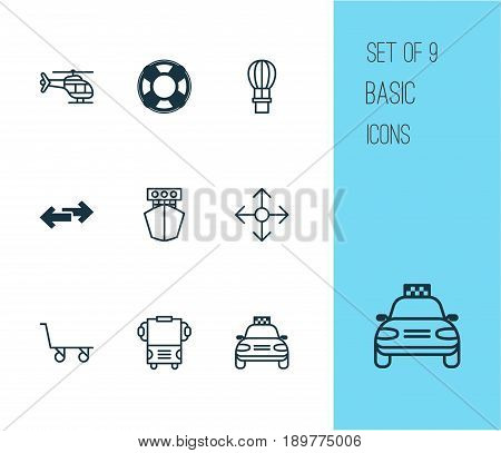 Vehicle Icons Set. Collection Of Navigation Arrows, Ship, Lifebuoy And Other Elements. Also Includes Symbols Such As Cart, Sea, Airplane.