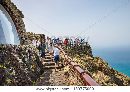 Mirador Del Rio, Lanzarote, March 31, 2017: People Enjoing Impressive View From Mirador Del Rio To I