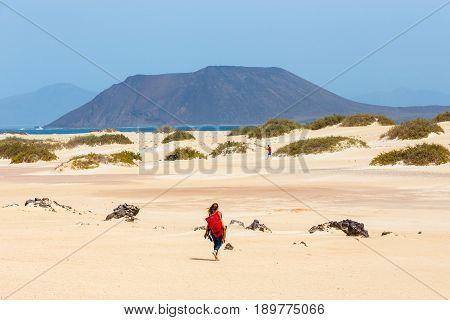Corralejo, Fuerteventura, April 01, 2017: Unknown Male Kitesurfer On A Beach In Corralejo, Fuerteven