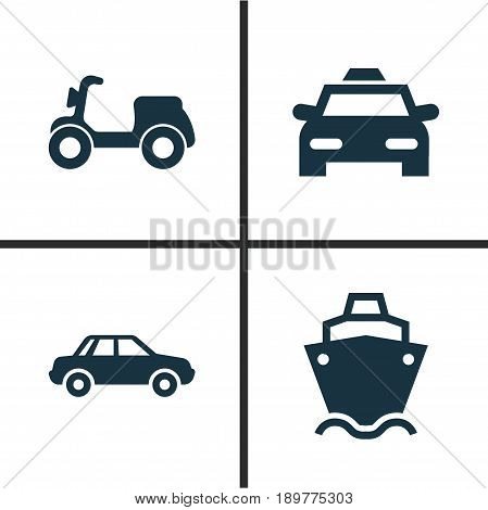 Transportation Icons Set. Collection Of Automobile, Cab, Tanker And Other Elements. Also Includes Symbols Such As Tanker, Car, Automobile.