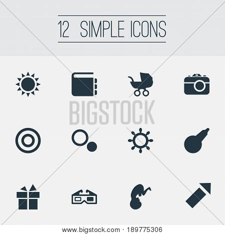 Vector Illustration Set Of Simple Kid Icons. Elements Board, Sparkler, Healthcare And Other Synonyms Encyclopedia, System And Sparklers.