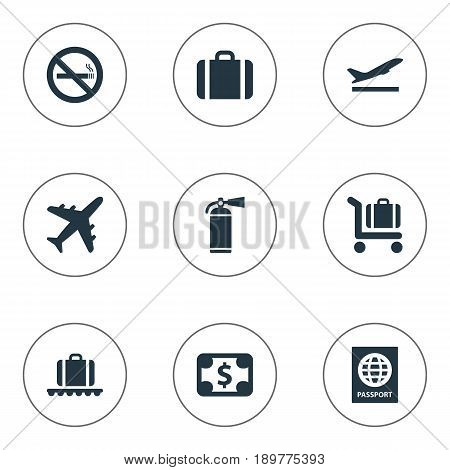 Vector Illustration Set Of Simple Travel Icons. Elements Luggage Carousel, Protection Tool, Certificate Of Citizenship And Other Synonyms Suitcase, Citizenship And Certificate.