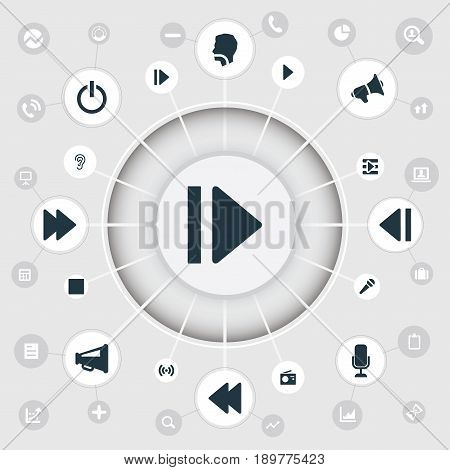 Vector Illustration Set Of Simple Music Icons. Elements Megaphone, Singing, Previous And Other Synonyms Movie, Loud And Communication.