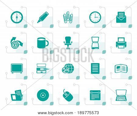 Stylized Business and Office tools icons - vector icon set 2
