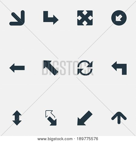 Vector Illustration Set Of Simple Pointer Icons. Elements Left Direction, Crossed Arrows, Pointer And Other Synonyms Direction, Down And Reload.